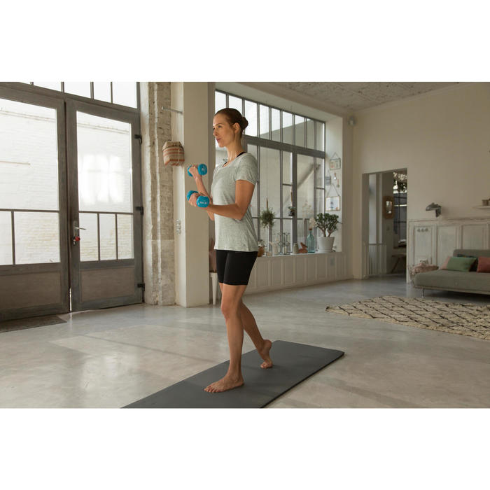 T-Shirt 500 régular manches courtes Gym & Pilates femme chiné - 1229721