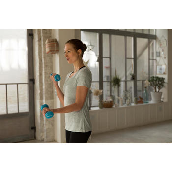 T-Shirt 500 régular manches courtes Gym & Pilates femme chiné - 1229728