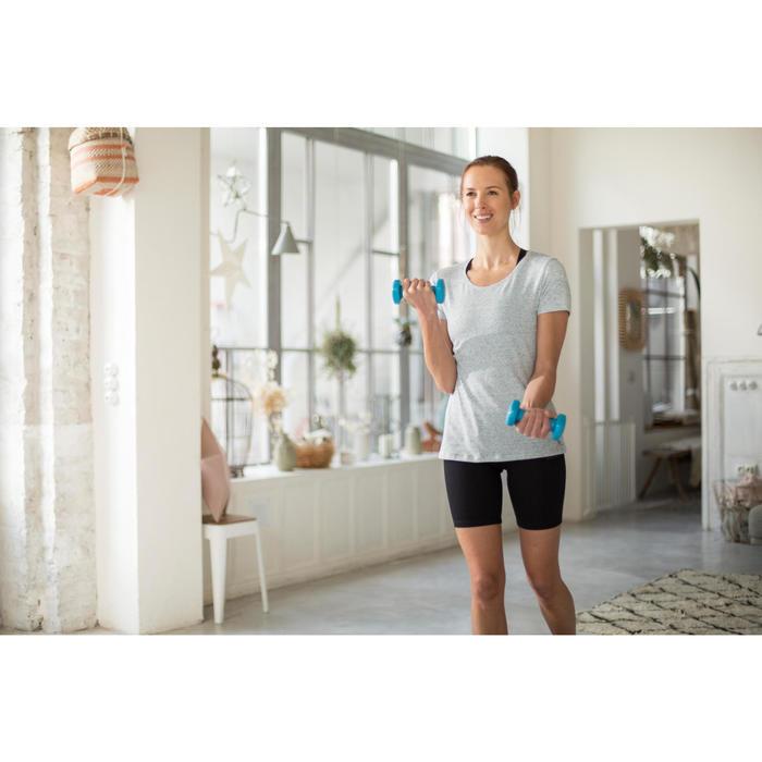 T-shirt 500, gym en pilates, korte mouwen, regular fit, dames, gemêleerd kaki