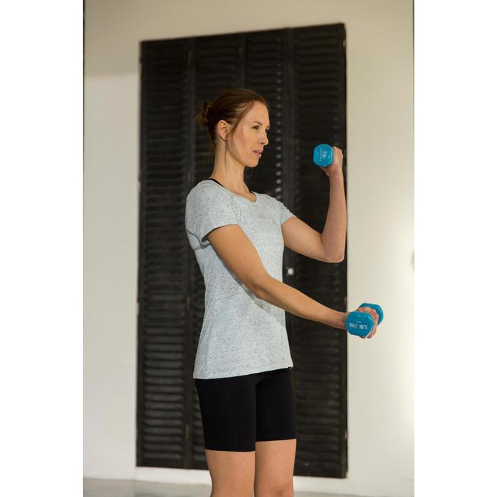 T-Shirt Regular 500 Gym Stretching Damen dunkelrosa meliert