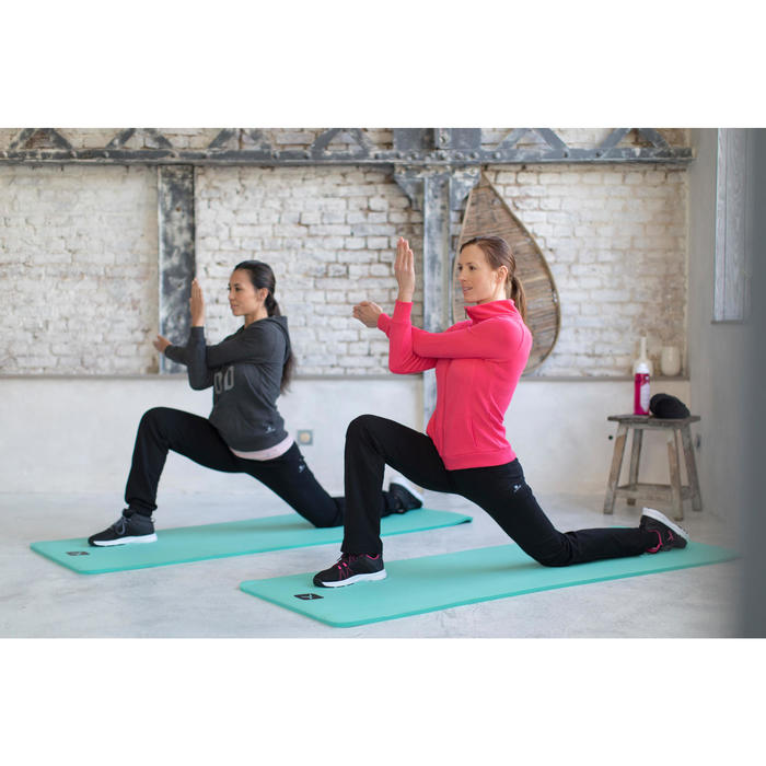 Trainingsjacke 500 Stehkragen Gym Stretching Damen graumeliert