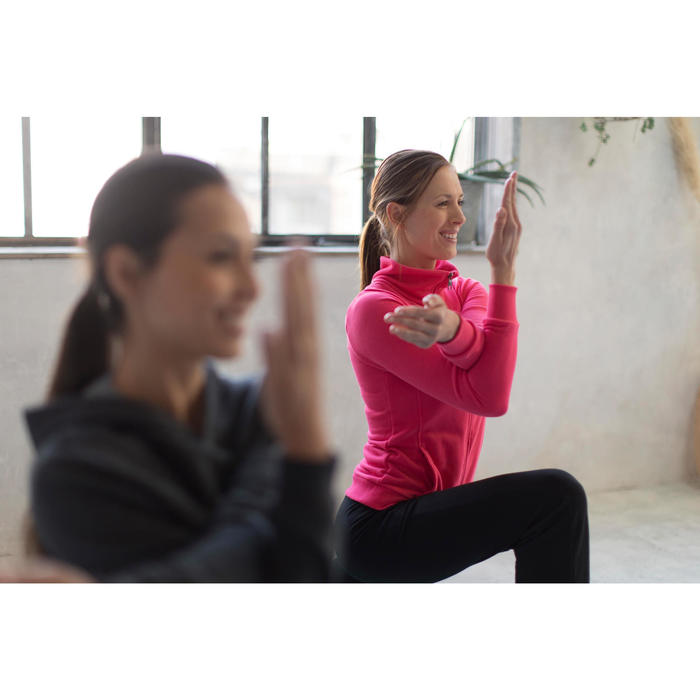 Damesvest met opstaande kraag voor gym en stretching 500 zwart