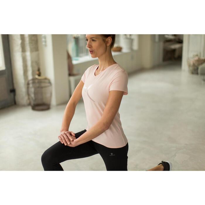Dames T-shirt met korte mouwen voor gym en pilates gemêleerd - 1229890