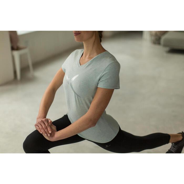 Dames T-shirt met korte mouwen voor gym en pilates gemêleerd - 1229917