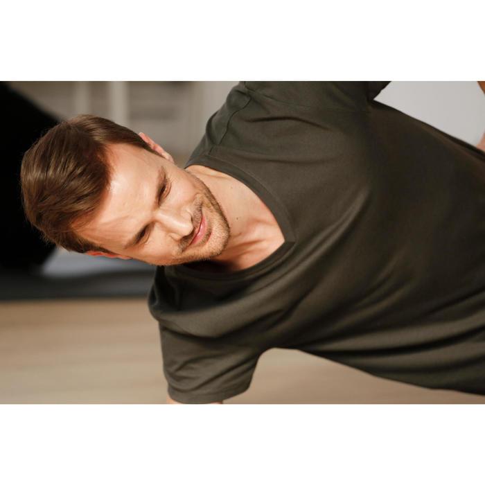 T-shirt 500 V-hals slim fit pilates en lichte gym heren marineblauw