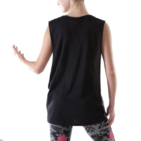 t shirt sans manche danse femme noir domyos by decathlon. Black Bedroom Furniture Sets. Home Design Ideas