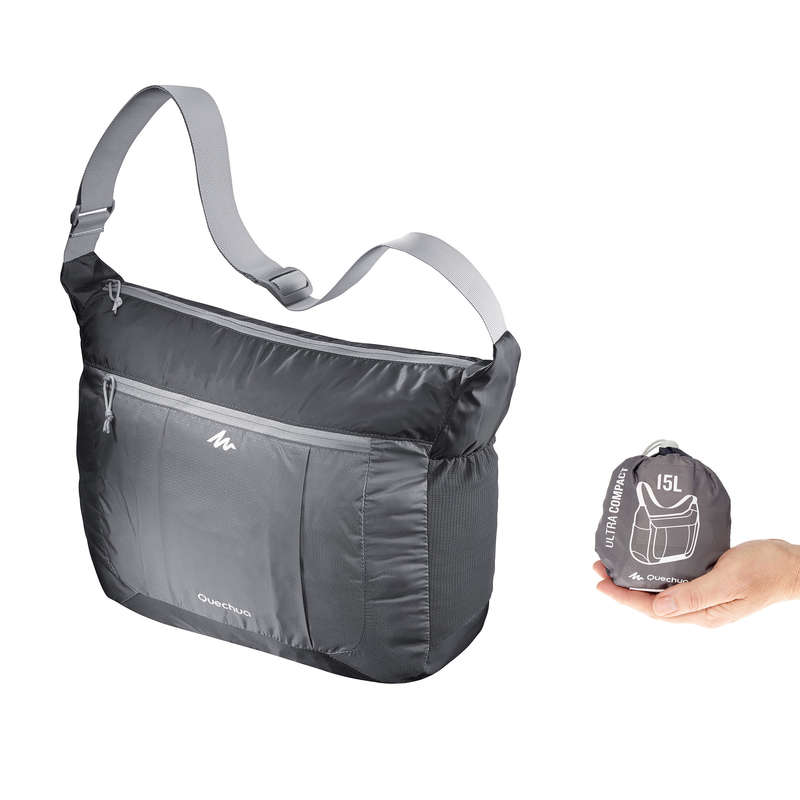 COMPACT BACKPACKS TRAVEL ACC TRAVEL TREK Hiking - Ultra-Compact Travel Satchel - Grey FORCLAZ - Hiking