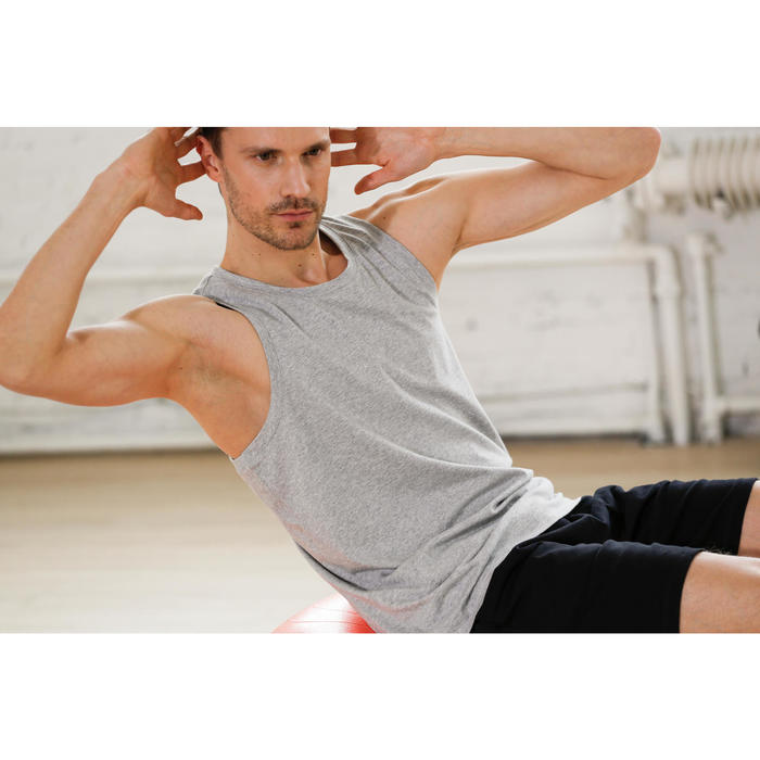 Mouwloos herenshirt 500 voor gym en stretching regular fit gemêleerd grijs