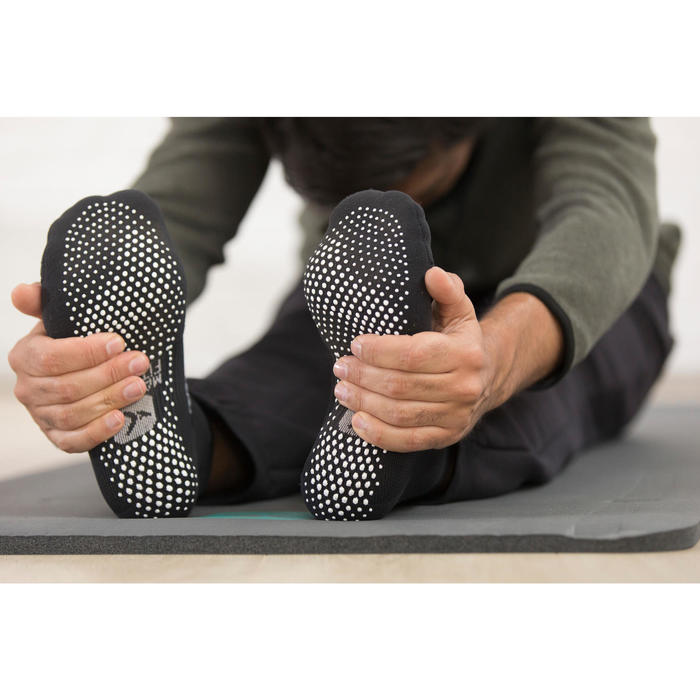 Sportsocken rutschfest Gym Stretching & Pilates grau