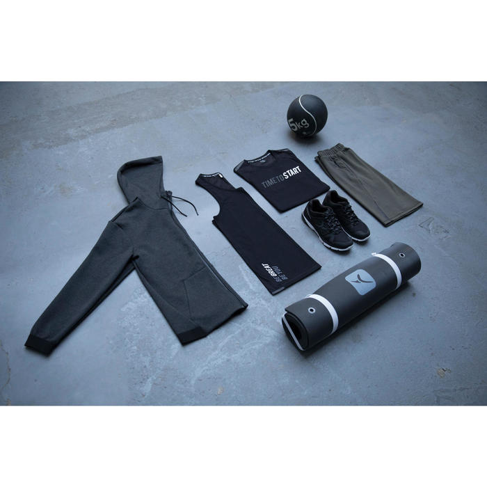 Herenhoodie voor pilates en lichte gym 560 gemêleerd donkergrijs
