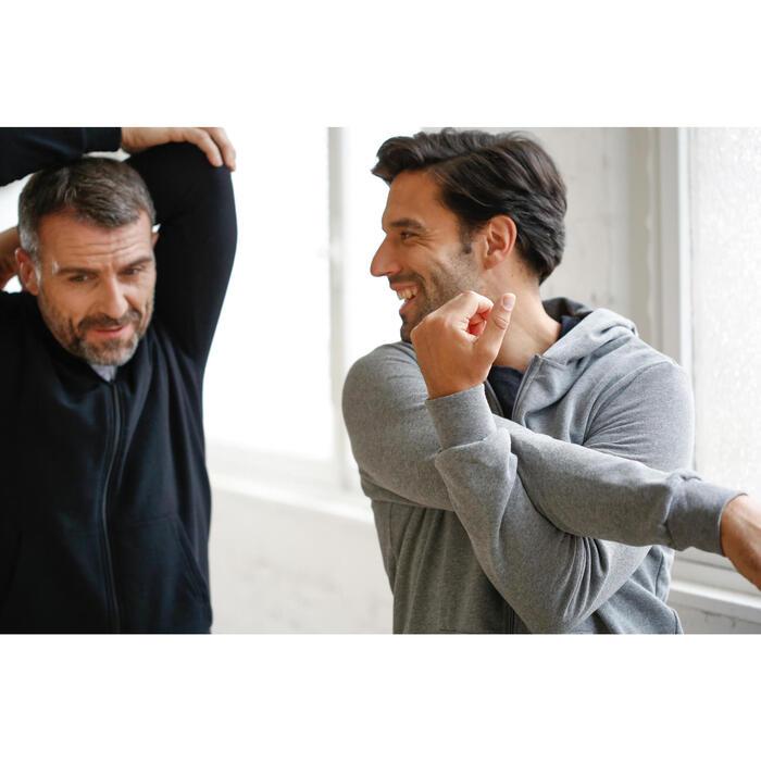 Hoodie voor fitness en pilates heren zwart
