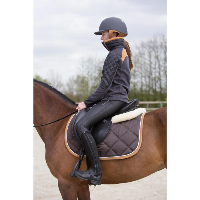 Kinderfleece Paddock ruitersport twee materialen grijs/camel