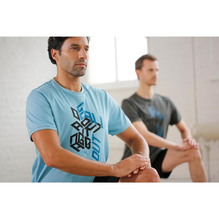 T Shirt regular imprimé Gym & Pilates homme kaki