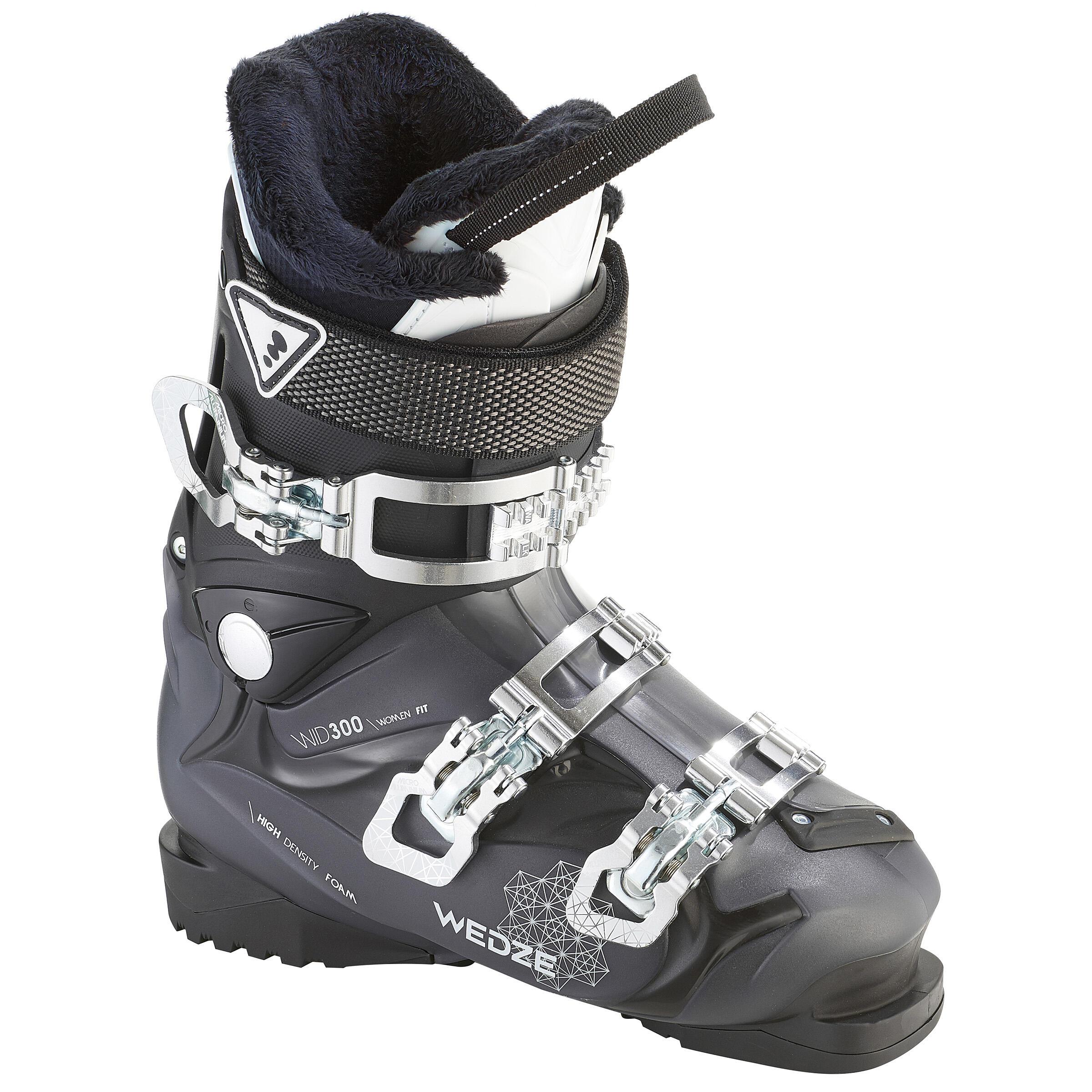 Wed'ze Dames skischoenen voor pisteskiën SKI-P BOOT WID 300 zwart