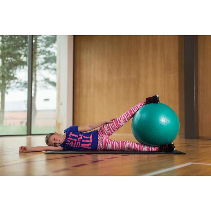 Dívčí legíny na fitness 500 růžové s potiskem  579ab896dd