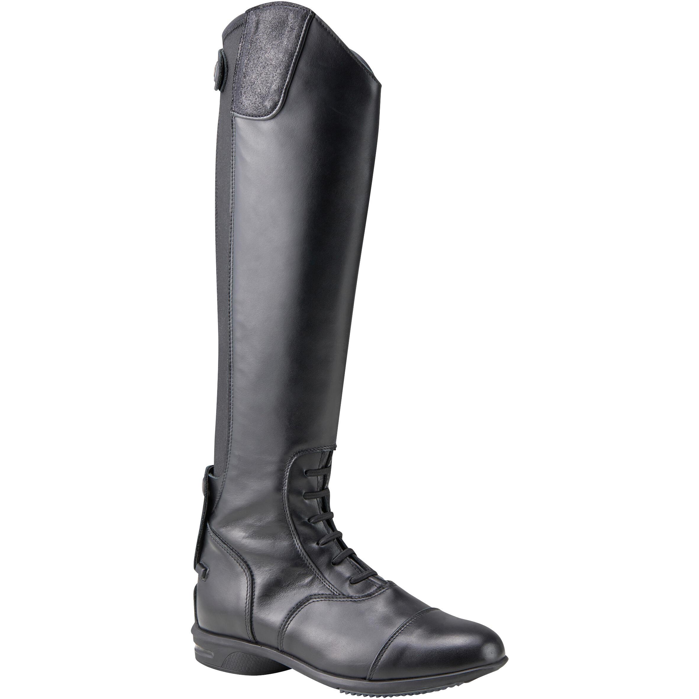 Reitstiefel LB 900 Leder Erwachsene schwarz | Schuhe > Sportschuhe > Reitstiefel | Schwarz | Leder | Fouganza