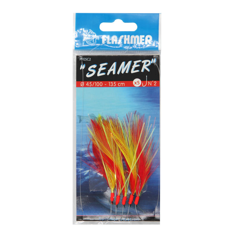 Seamer 5 x N°2 hooks sea fishing spinners/feathers