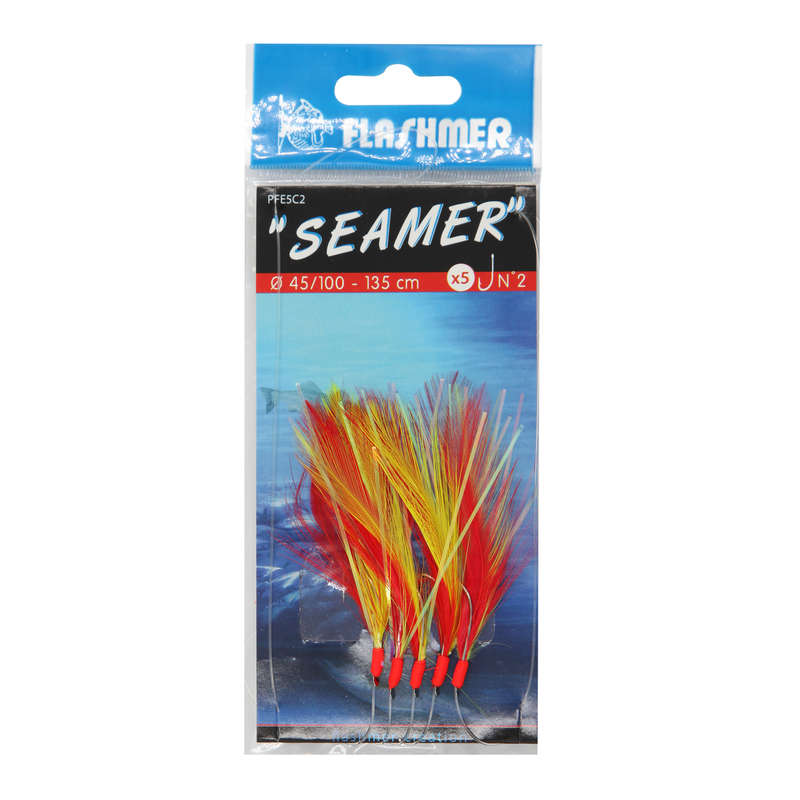 FJÄDERRAD Fiske - Seamer 7 krokar N°1/0 FLASHMER - Fiskedrag och Beten