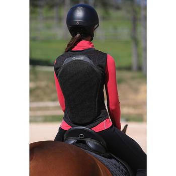 成人及兒童的彈性馬術運動護背 - 黑色