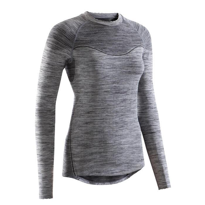 Fahrrad-Unterwäsche Langarm-Funktionsshirt 500 Damen schwarz