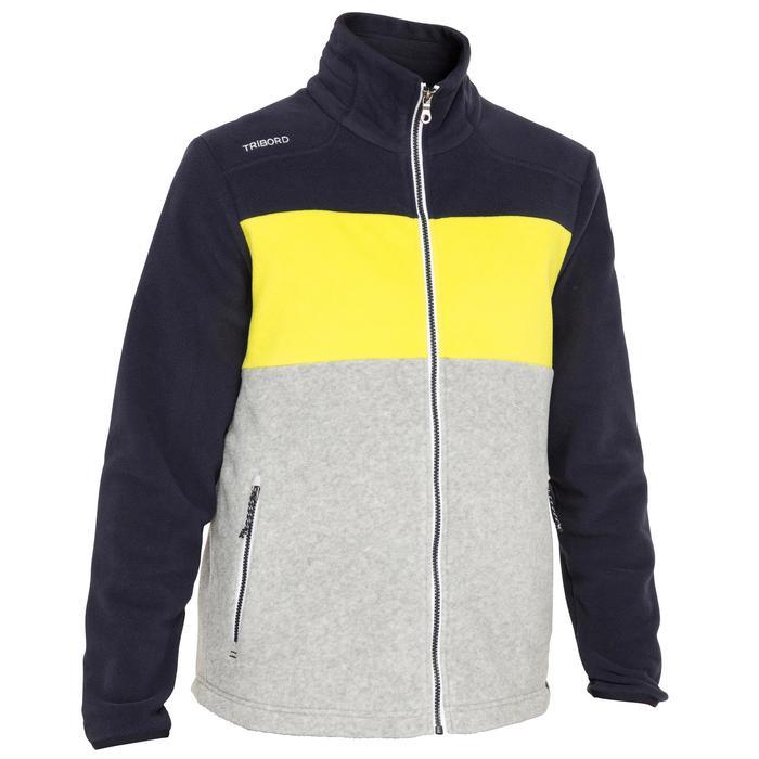 Polaire bateau homme RACE tricolore bleu foncé / jaune / gris