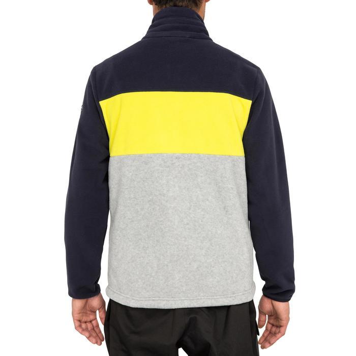 Zeilfleece heren Race driekleurig donkerblauw/geel/grijs