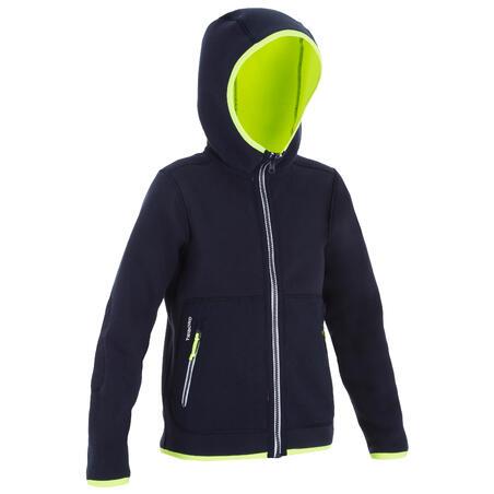 Kids' Sailing Reversible Fleece 500 - Navy blue neon yellow