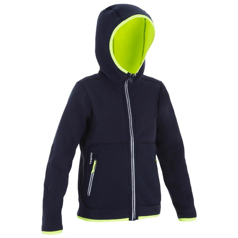Fleece voor zeilen kinderen Sailing 500 omkeerbaar marineblauw/fluogeel