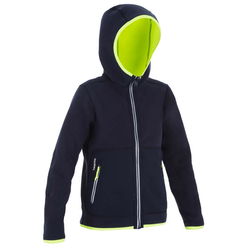 CRUISING RAINY AND COLD WEATHER JR Sailing - 500 JR Fleece - Blue/Neon* TRIBORD - Sailing Clothing