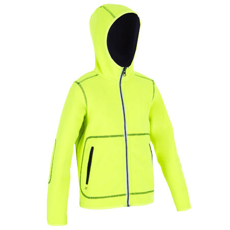 500 Kids' Sailing Fleece reversible - Blue neon