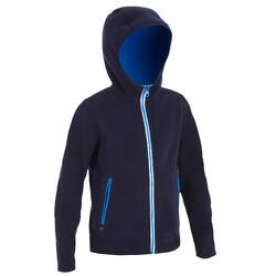 兒童款航海正反兩用刷毛外套500-藍色/藍色
