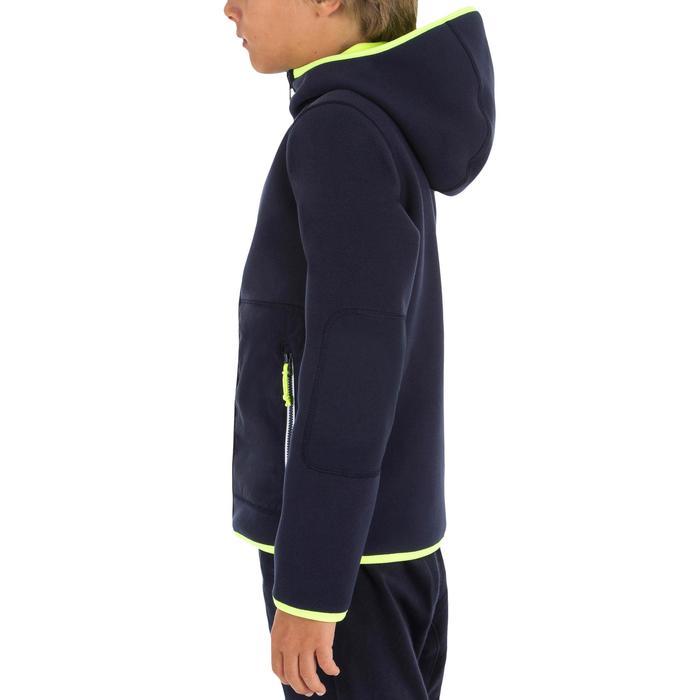Omkeerbare zeilfleece voor kinderen 500 blauw fluo