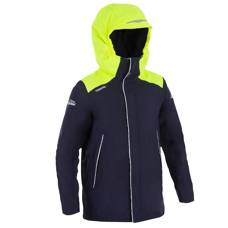 Warme waterdichte jas voor zeilen jongens Sailing 100 blauw geel