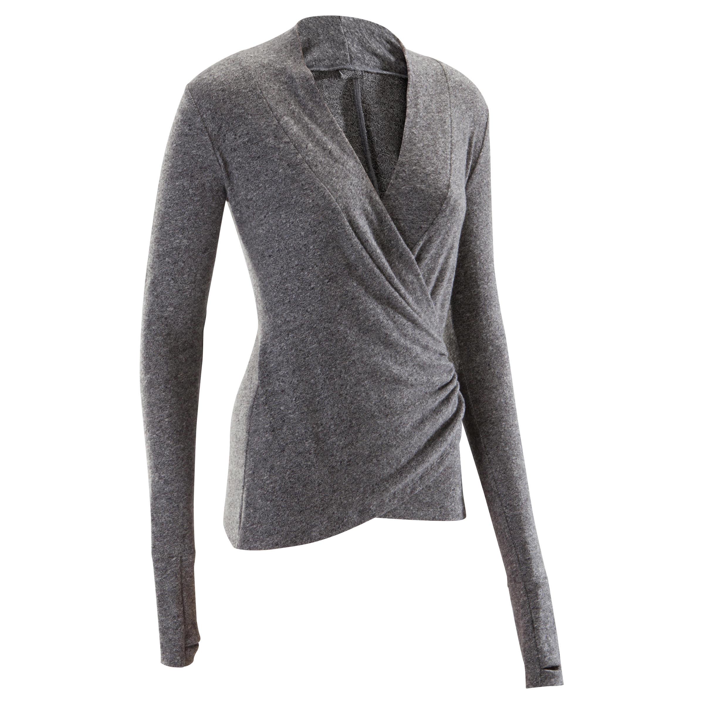 Suéter cruzado de danza clásica mujer gris moteado