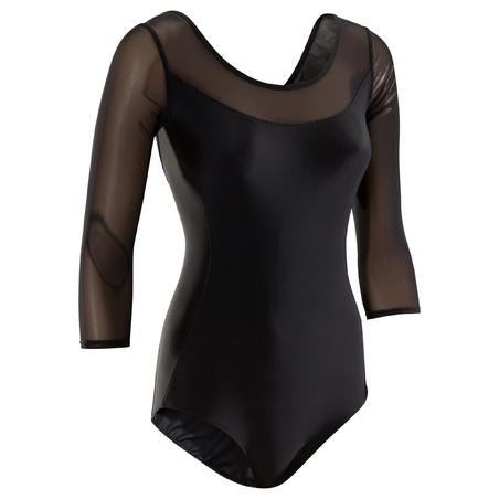 Leotardo Ballet Domyos Mujer Manga Larga Con Encaje Negro