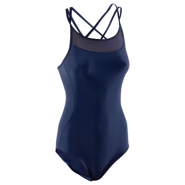 Justaucorps de danse classique à bretelles croisées femme bleu marine - 1232244