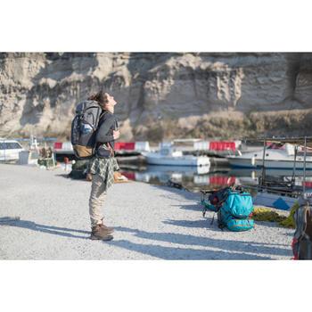 Damesshirt met lange mouwen voor trekking Travel 500 merinowol grijs
