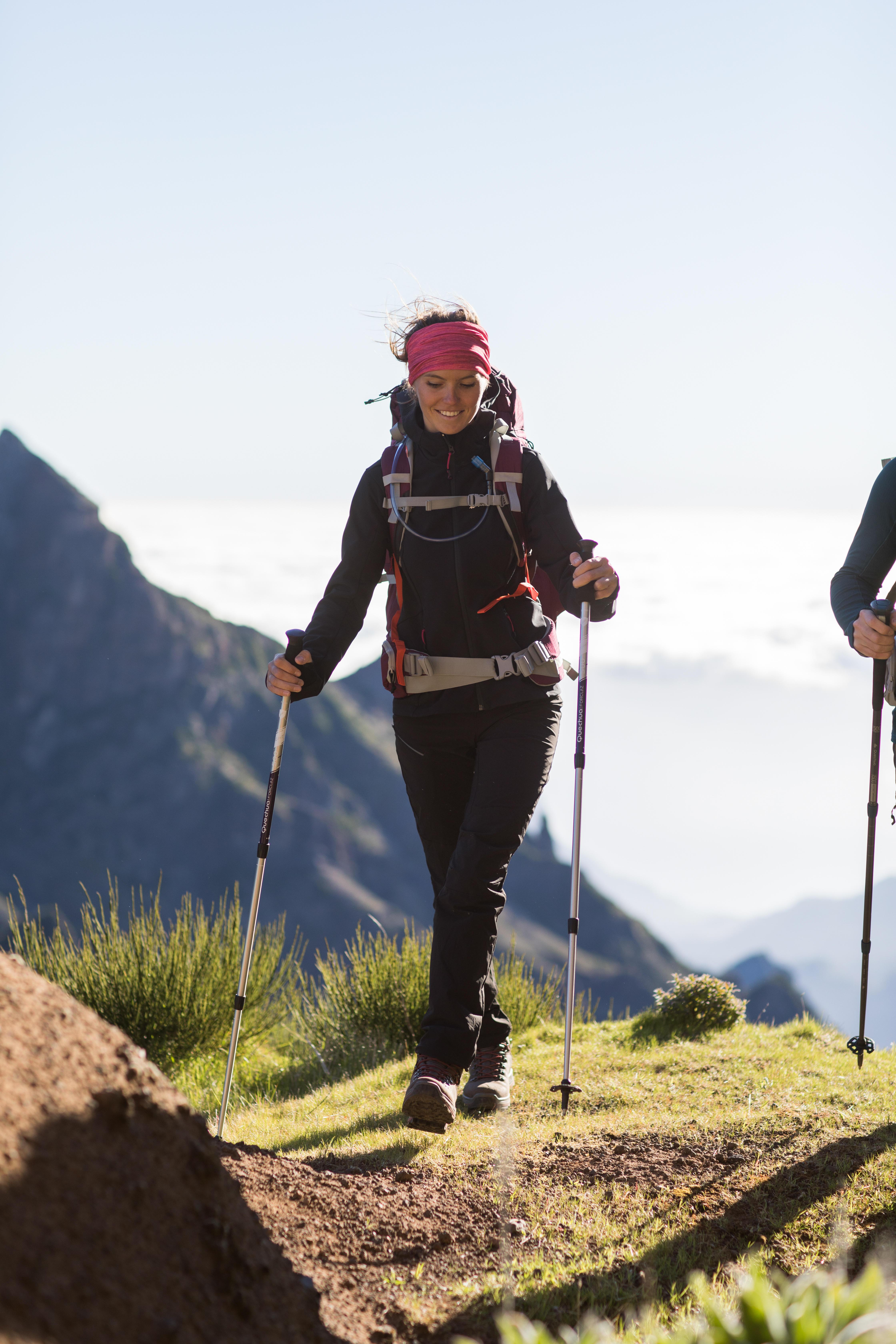Women's TREK 900 softshell black trekking jacket