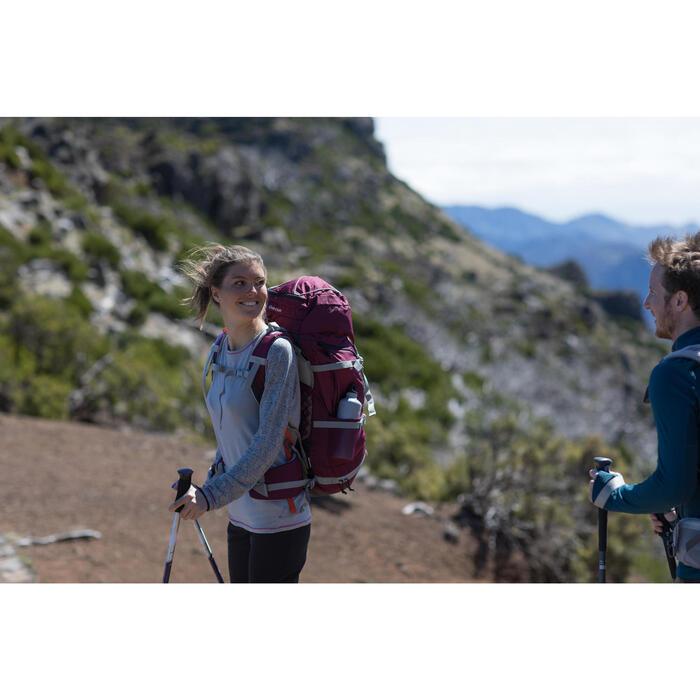 Camiseta de lana merina trekking montaña Techwool 190 manga larga mujer gris