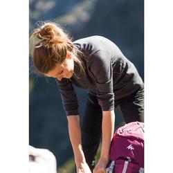 Merino shirt met lange mouwen voor bergtrekking dames Trek 500 rits zwart
