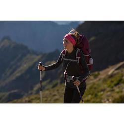 女款拉鍊式登山健行長袖T恤TECHWOOL190-黑色