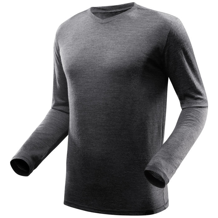 Tee-Shirt manches longues TRAVEL 500 WOOL Homme gris - 1233202