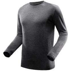 T-shirt Travel 500 met lange mouwen voor heren wol grijs