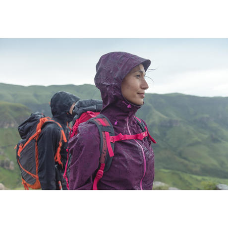 Forclaz 400 Women's Waterproof Hiking Rain Jacket - Plum | Quechua