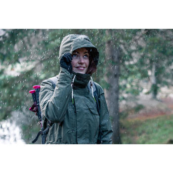 Veste Imperméable randonnée nature femme NH500 kaki