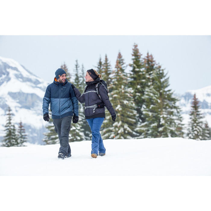 Dames wandellaarzen voor de sneeuw SH500 X-warm veters blauw