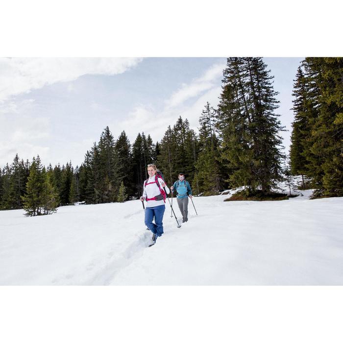 Dames T-shirt met lange mouwen voor wandelen in de sneeuw SH500 Warm ice blue