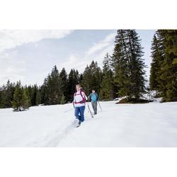Tee-shirt de randonnée neige manches longues femme SH500 warm bleu-ice