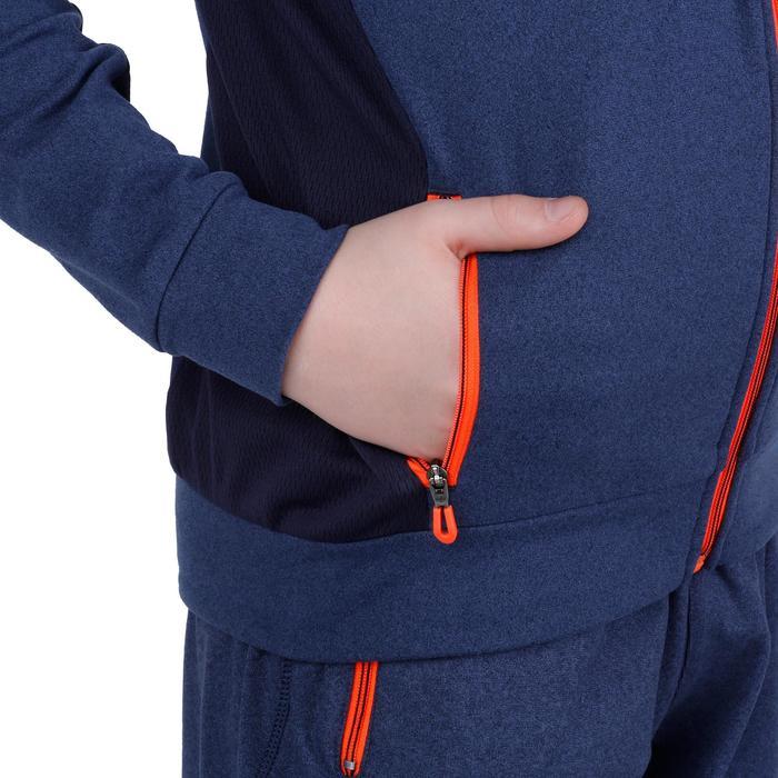Gymhoodie met rits 980, voor jongens, met zakken, blauw/oranje