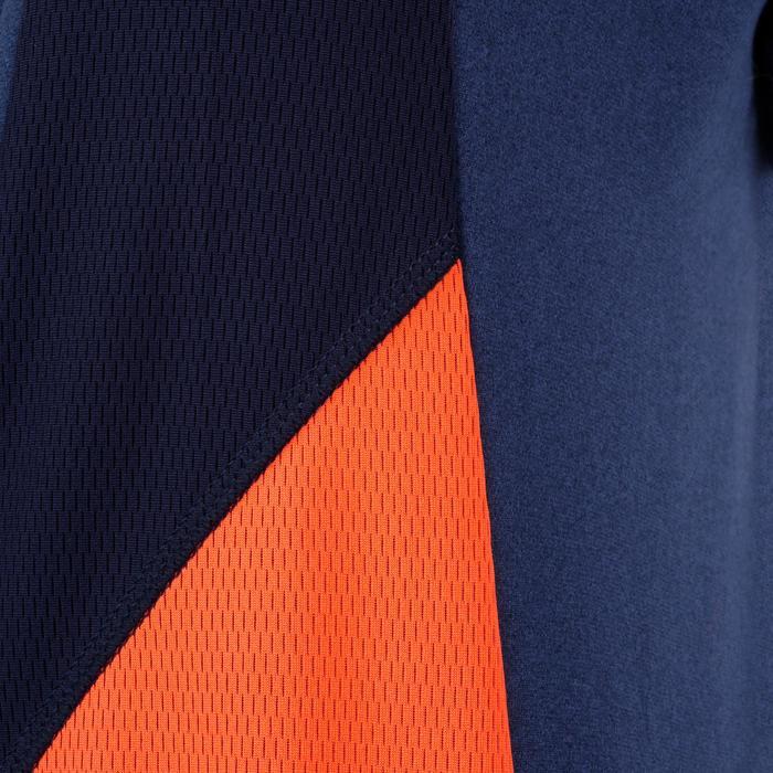 Sudadera De Gimnasia Domyos 980 Con Capucha Y Bolsillos Niño Azul Naranja